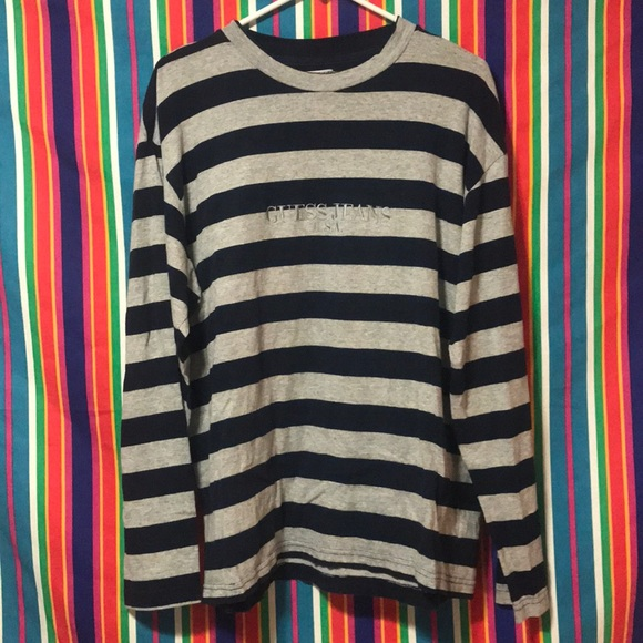 a64fcf71 Guess Shirts | 80s Vintage Striped Jeans Usa Ls | Poshmark